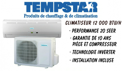 PROMOTION TEMPSTAR, TEMPSTAR DUCTLESS, CLIMATSEUR MURAL TEMPSTAR, AIR CLIMATISE MURAL TEMPSTAR